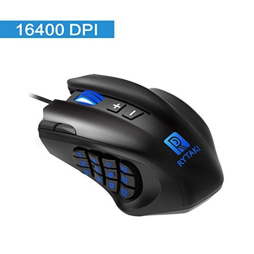 Gaming Maus, Rytaki R6 MMO Laser Maus (19 programmierbare Tasten, 16.400 dpi, LED-Beleuchtung, MMO Laser Mouse, 12 Button an der Seite, 6 einstellbaren DPI Level, 4 Polling Raten, Schweres Gehäuse)