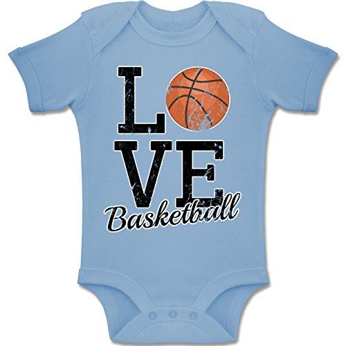 Shirtracer Sport Baby - Love Basketball - 6-12 Monate - Babyblau - BZ10 - Baby Body Kurzarm Jungen Mädchen (Basketball-baby-mädchen)