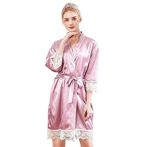 Luotuo Damen Morgenmantel Kimono mit Gürtel Sexy Volltonfarbe Lose Bademantel Satin Kurz Robe Pajamas Lingerie Nachthemd Nachtwäsche Mit Blumenspitze
