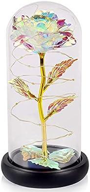 هدية ورود صناعية ملونة من ستاتام - سلسلة إضاءة ليد على زهرة ملونة، تدوم إلى الأبد في قبة زجاجية، هدايا فريدة ل