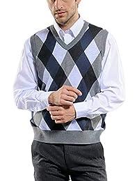 Guiran Hombres Chalecos De Negocios Casual Pullover Sweaters Chaleco De Punto Jersey Sin Mangas Verde 2XL