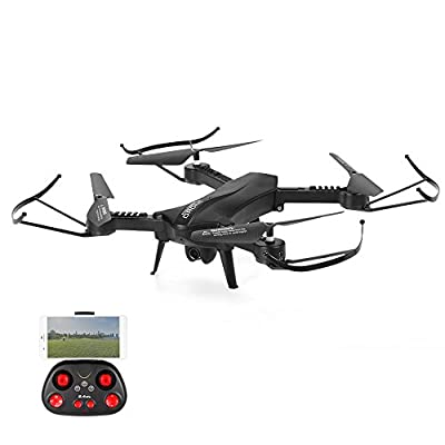 SZJJX RC Drones Foldable Remote Control Wifi Quadcopter FPV VR Helicopter 2.4GHz 6-Axis Gyro 4CH with Adjustable Wide Angle 2MP HD Camera RTF SJ60 (Red) c