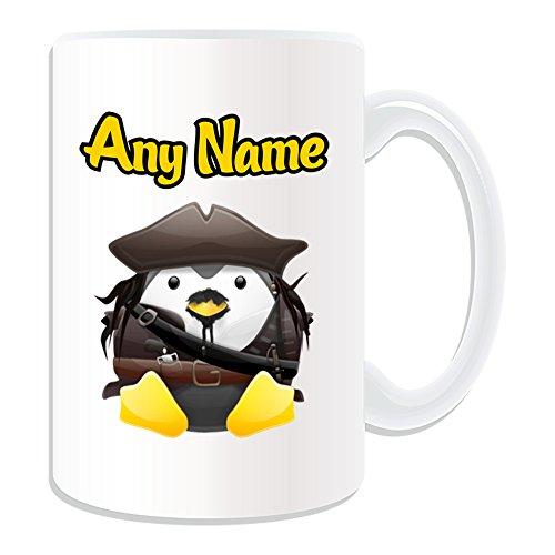 Personalisiertes Geschenk, großer Captain Jack Sparrow Tasse (Pinguin Film Charakter Design Thema, weiß)-Jeder Name/Nachricht auf Ihre Einzigartiges-Kostüm Film Superheld Hero Piraten der Karibik