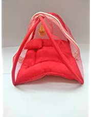 Weird Luxury Bed for Laddu Bal Gopal with Mosquito Net and Pillow (10x10x10-inch, Red)