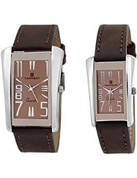 TIMEWEAR Analogue Brown Dial Men's & Women's Couple Watch (908Bdtcouple)