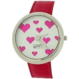 Señoras de Eton analógica de corazones rosa y plata rojo vestido de reloj correa de PU 2854J
