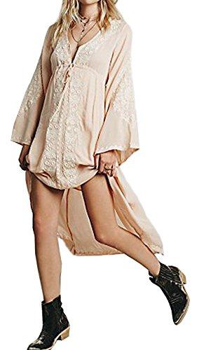 R.Vivimos Damen V-Ausschnitt Lange Ärmel Baumwolle Blumen bestickt Lange Kleider (XL, Pfirsich) (Kordelzug Pfirsiche)