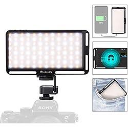 Moman Panneau LED Light Photographie Torche Lampe Vidéo Eclairage Lumiere sur Caméra Appareil Photo CRI 96+ 3000K-6500K Charge de Type C, 180 Perles LED, Sortie USB DC, Alliage d'aluminium