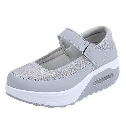 Sommer Sneaker Damen,Mode atmungsaktiv Sandalen Lässig Mesh Schütteln Schuhe Sport Fitness Schuhe Outdoor Fitnessschuhe Slipper mit Klettverschluss