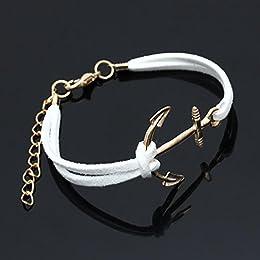 Acheter SODIAL(R) Bracelet Blanc en Alliage ancres corde... en ligne
