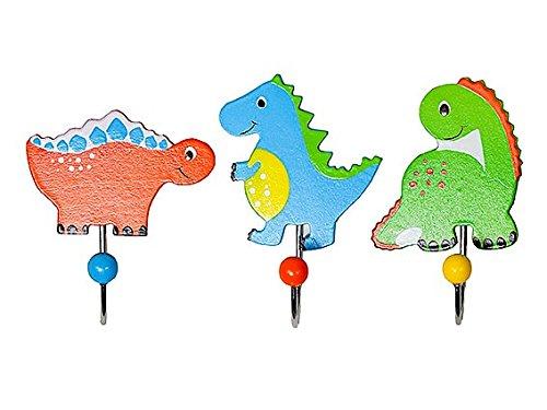 Dinosaurier Buchstütze (Kinder Kleiderhaken Wandhaken Blau Dinosaurier Holz für Jungen Kinderzimmer)