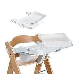 Hauck Alpha Tray, Essbrett mit herausnehmbarem Tablett, kompatibel mit Alpha +, pflegeleicht, leichte Montage, verstellbar, Bechervertiefung und erhöhtem Rand, weiß