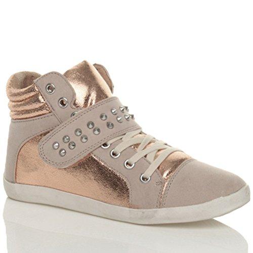 Sneakers Spitzen High Turnschuhe Sport Top Flach Gr枚脽e mit Damen Hohe Nieten Schn眉ren Bronze nqA1pHFxI