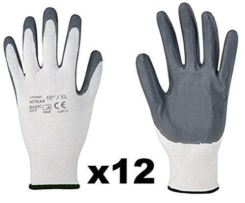 NITRAX Basic (12 Paar) - Antirutsch Arbeitshandschuhe Montagehandschuhe Nahtlos, Mit Nitril der besten Qualität - gegen Öle und Kohlenwasserstoffe, für Reparaturen, Werkstatt (8, Grau)