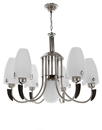 Aesthetichs Contemporary Chrome Finished Chandelier- 7 Lamp Shades, Wooden Touch