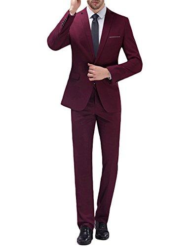 Homme costume confortable formel d'affaire de couleur uni un bouton à la mode slim fit deux pièces (X-Large, Vin Rouge)