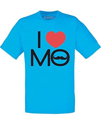 Brand88 - Brand88 - I Love Mo, Mann Gedruckt T-Shirt Azurblau/Schwarz/Rote