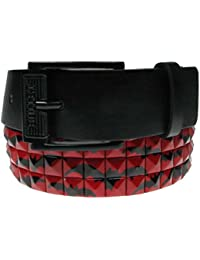 38mm New Pyramid Bat Printed Studded Mens Womens Belt with Removable Buckles