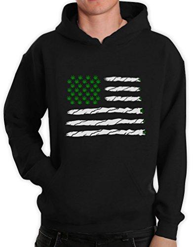 Green Turtle T-Shirts Weed American Flag Schwarz