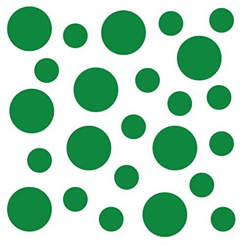 Grünes Glas-türen (kleb-Drauf® | 24 Punkte | Grün - matt | Wandtattoo Wandaufkleber Wandsticker Aufkleber Sticker | Wohnzimmer Schlafzimmer Kinderzimmer Küche Bad | Deko Wände Glas Fenster Tür Fliese)