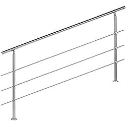 WilTec barandilla para escaleras Acero Inoxidable Cepillado 3travesaños 180cm pasamanos Escalera