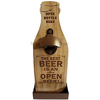 Wooden Beer Bottle Opener Wall Mounted Cap Catcher The