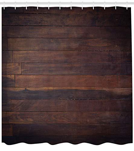 Nyngei Schokolade Duschvorhang im Alter von verwitterten dunklen Holz Eiche Holzbohlen Boden Bild Landleben Zimmerei Tuch Stoff Badezimmer Dekor Set mitdunkelbraun -