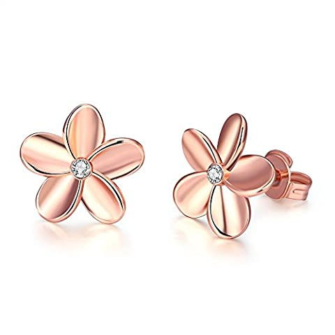 YEAHJOY Lady's 18ct Rose Gold Flower Shape Sparkling Stud Earrings with Cute Small Crystals For Women (18ct Rose Gold)