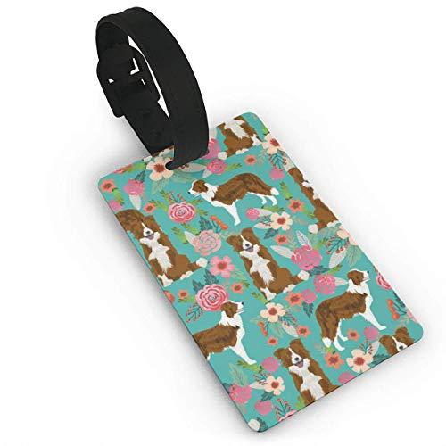 JKOVE Kofferanhänger,Red Border Collie Dog Florals Floral Dog,Turquoise Gepäckanhänger Taschenanhänger Luggage Tag -