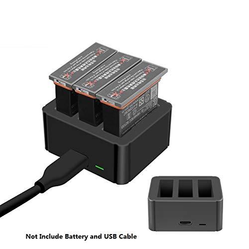 TUTUO 3 in 1 Batterie Ladegerät für DJI OSMO Action Cam, Schnellladegerät Multi Akku Ladestation für DJI OSMO Action 2019