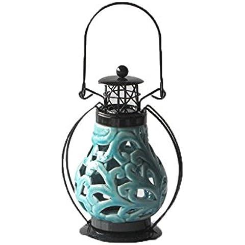 Lanterna in ceramica europea/Portacandele in ferro battuto retro portatile romantico/Ornamenti