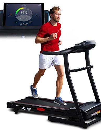 Sportstech F26 Profi Laufband mit Smartphone App Steuerung Pulsgurt im Wert von 39,90 € inklusive - MP3 AUX Bluetooth 4 PS 16 km/h HRC Training – kompakt klappbar verstaubar