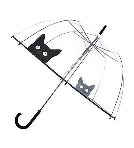 SMATI transparenter Automatik-Stockschirm Glockenform mit Katze - Regenschirm Damen (Katze)