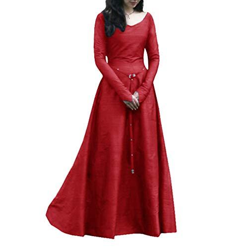 Mxssi Retro Kleid für Damen Frauen Lange Ärmel Damenkostüme Vintage Mittelalter Renaissance Halloween Party Kostüm Kleider Große Größen