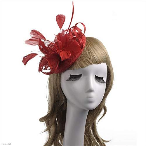 Ich werde jetzt Maßnahmen ergreifen Damenbekleidung Elegante Kopfbedeckungen Blume Feder Kopfkappe Cocktail Tea Party Hut Hochzeit Headwear Day Race Royal Ascot (Farbe : Rot)