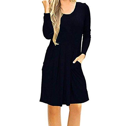 KIMODO Women's Long Sleeve Casual Pleated Loose Swing T-Shirt Dress