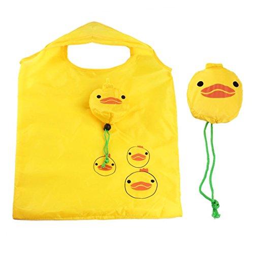 e-Tragbar Wiederverwendbar Cute Animal Einkaufstasche Eco Shopping Lebensmittels Reisetasche Faltbar mit Clip Kids Frauen Recycle Tragetasche (gelb Ente) ()