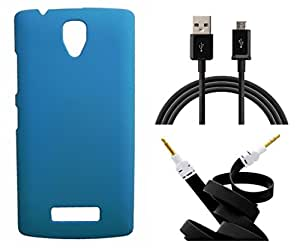 XUWAP Hard Case Cover With Aux Cable & Data Cable For Lenovo A2010 - Skyblue