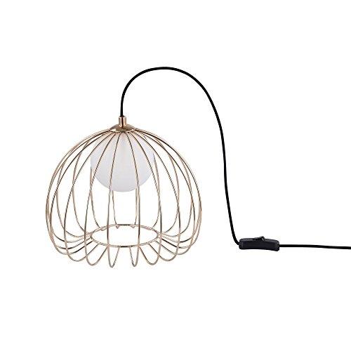 Lampe à poser, de table, lampe de chevet, style moderne, Loft, Armature en metal couleur or et noir, Abat-jour en forme de cage en metal et en verre couleur blanc, 1 ampoule, excl. 1 G9 28W 220-240V
