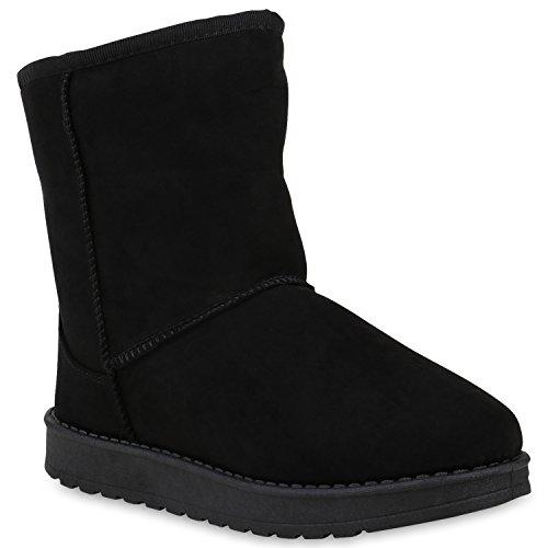 Damen Schuhe Schlupfstiefel Warm Gefütterte Stiefel Profilsohle Boots 153386 Schwarz Cabanas 39 Flandell