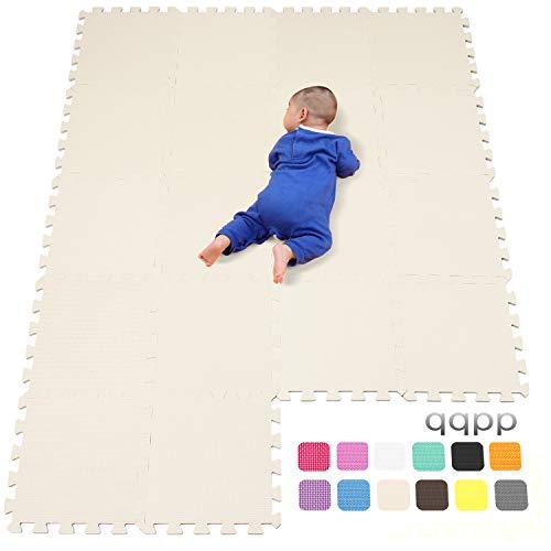 Qqpp Alfombra Puzzle para Niños Bebe Infantil - Suelo de Goma EVA Suave. 18 Piezas 30*30*1cm, Beige.QQC-Jb18N...