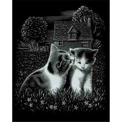 MAMMUT 136010 - Kratzbild, Motiv spielende Katzen, silber, glänzend, Komplettset mit Kratzmesser und Übungsblatt, Scraper, Scratch, Kritzel, Kratzset für Kinder ab 8 Jahre