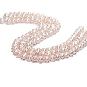 3x Zuchtperlen Stränge – oval, 10×12 mm, rosa/7244g
