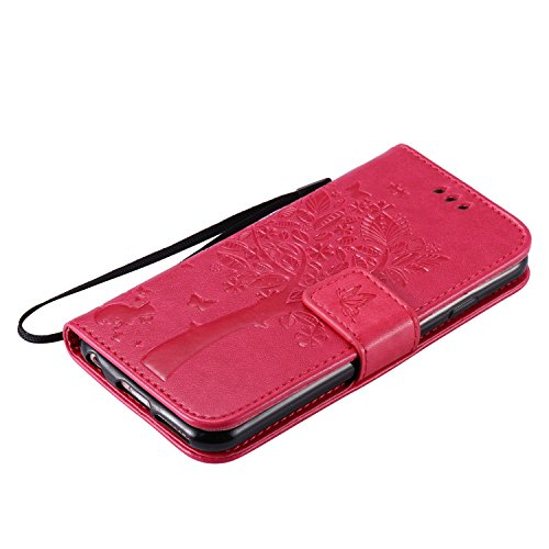iPhone 6 Hülle, iPhone 6S Hülle,iPhone 6 6S Case,Cozy Hut iPhone 6 6S (4,7 Zoll) Hülle Muster,Handy Case Cover Tasche for iPhone 6 6S, Bunte Retro Blumen Herz der Liebe Muster Druck Buch-Stil Bookstyl Rose Red Katzenbaum