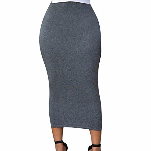 YALL Meine Damen Kleid Tasche Hip Maxikleid Einfachen Stil Mini Rock Taille, Grau, M.