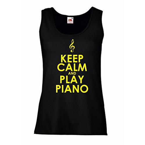 lepni.me Femme Débardeur sans Manche Play Piano - Citations Musicales Noir Jaune