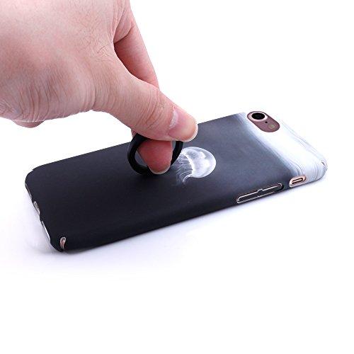 iProtect Hardcase mit Ring Blüten Schutzhülle in Transparent Schwarz mit Fingerhalterung für Apple iPhone 7, iPhone 8 Qualle