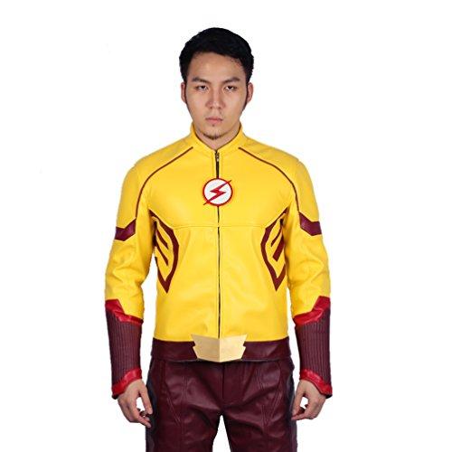 Herren Jacke Cosplay Kostüm Hit Drama Hoodie Zip PU Sweatshirt Gelb Pullover Leder Top Kleidung für Erwachsene (Kostüm West Wally)