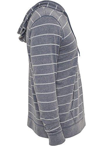 Urban Classics Striped Burnout Hoody Blu Grigio
