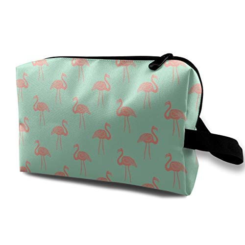 Makeup Bag Portable Travel Cosmetic Bag Flamingo Simple Tropical Summer Preppy Flamingo by - Coral On Mint Mini Makeup Pouch for Women Girls